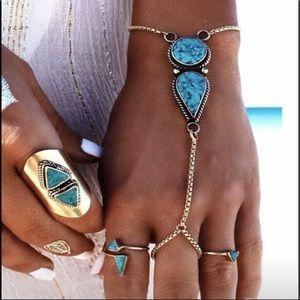 Boho silver & turquoise hand jewelry bracelet NWT